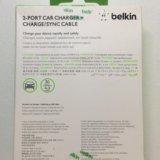 Авто зарядка belkin (2входa usb) + кабель. Фото 2.