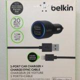 Авто зарядка belkin (2входa usb) + кабель. Фото 1.