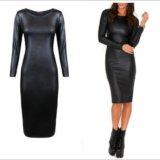 Кожаное платье черное. Фото 2.