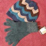 Шапка + перчатки, демисезон. Фото 1. Новосибирск.