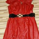 Кожаное красное платье. Фото 2.