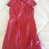 Кожаное красное платье. Фото 3.