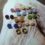Серьги-гвоздики из бисера ручной работф. Фото 1. Красноярск.