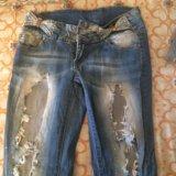 Продам рваные джинсы размер 42-44. Фото 4.
