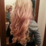 Наращивание волос блонд 60 см. Фото 1.