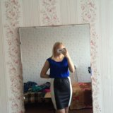 Новая юбка с кожаной вставкой. Фото 1.