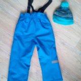 Зимние брюки. 104 размер. и шапка к ним. Фото 2.