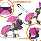 Санки коляска ника детям 7-2 люкс розовые. Фото 1.