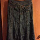 Юбка джинсовая в пол б/у и зелёная. Фото 1. Яблоновский.