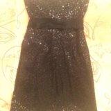 Платье чёрное в пайетках. Фото 2.