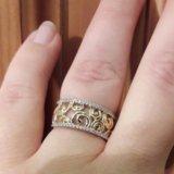 Кольцо из жёлтого золота с фианитами завод эстет. Фото 4.