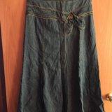 Юбка джинсовая в пол б/у и зелёная. Фото 3. Яблоновский.