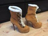Зимняя обувь с натуральным мехом на каблуке. Фото 1.