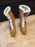 Зимняя обувь с натуральным мехом на каблуке. Фото 2.