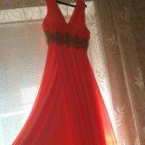 Шикарное платье в пол кораллового цвета!. Фото 1.
