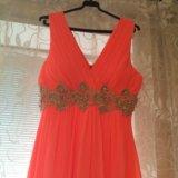 Шикарное платье в пол кораллового цвета!. Фото 3.