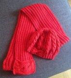 Комплект ручной вязки берет и шарф. Фото 1.