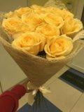 15 кремовых роз спб, 15 персиковых роз спб. Фото 1.