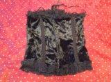 Черный корсет, бархатистый р.48, на шнурках, крючк. Фото 2.