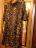 Леопардовое платье р.50. Фото 1.