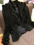 Куртка замшевая с отделкой из норки 44-46. Фото 1.