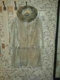 Шуба мутоновая с капюшоном из норки. Фото 1.