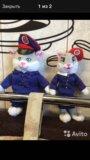 Мягкие игрушки(котик и кошечка)ржд. Фото 1.