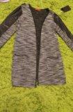 Кардиган с кожаными вставками. Фото 1.