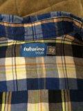 Рубашка в клетку с коротким рукавом . размер 92. Фото 2.