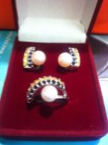 Комплект серебро 925  жемчуг и сапфиры. Фото 3.