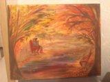 """Картина маслом """"любовь и осень"""". Фото 1."""