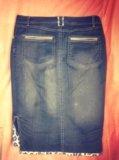 Юбка-карандаш джинсовая (по колено) 46 р. Фото 4.