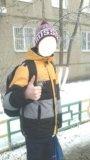 Пуховик для школьника 9-13 лет + мех + перчатки. Фото 1.