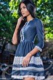 Новое джинсовое платье гепюр. Фото 2.