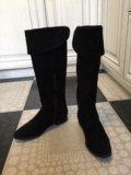 Осенние замшевые чёрные сапоги ботфорты. Фото 4.
