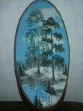 Картины на срезе дерева. Фото 3.