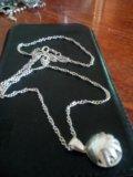 Серебряная цепочка с подвеской. Фото 1.