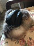 Зимняя шапка из кожи с натуральным мехом. Фото 1.