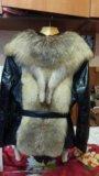 Куртка зимняя кожаная(натур) женская с мехом лисы. Фото 1.
