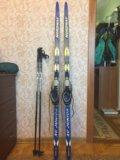Лыжи, крепления, ботинки, палки. Фото 2.
