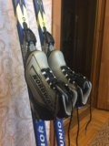 Лыжи, крепления, ботинки, палки. Фото 1.
