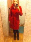 Пальто красное драповое. Фото 1.