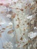 Тюль новый (органза печать бежево-коричнев. цветы). Фото 1.