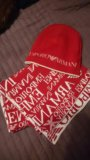 Комплект emporio armani шарф и шапка. оригинал. Фото 1.