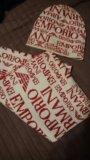Комплект emporio armani шарф и шапка. оригинал. Фото 2.