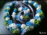 Венок, ободок цветочный с браслетом. Фото 1.