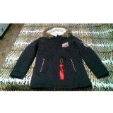 Куртка парка осень-зима черная. Фото 2.