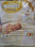 Подгузники huggies elite soft 2 (4-7 кг) 88 шт. Фото 1.