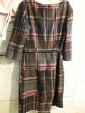 Платье в клетку полиэстер/шерсть.42р. Фото 2.