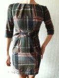 Платье в клетку полиэстер/шерсть.42р. Фото 3.